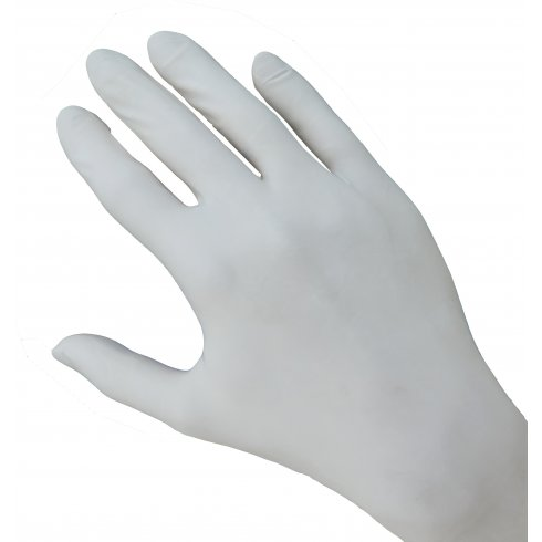 Clear Pre-Powdered Latex Gloves, Medium